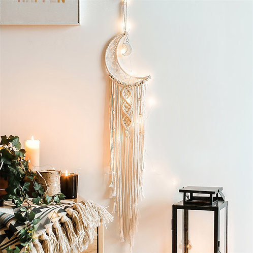 Bohemian Chic Macrame Wall Hanging Tapestry Mandala Moon Dreamcatcher