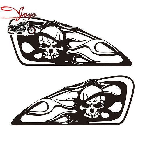 Brand New Motorcycle Skull Flame Design Tank Decal Sticker