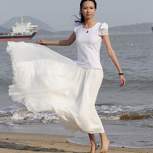 2019 Women Boho Chiffon Long Maxi Skirt Beach Casual