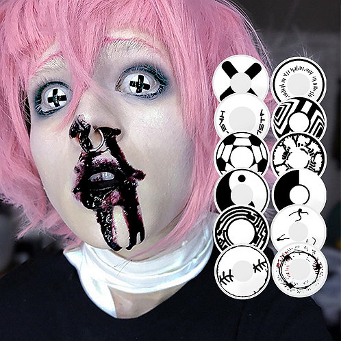 1 Pair Black and White Halloween Contacts