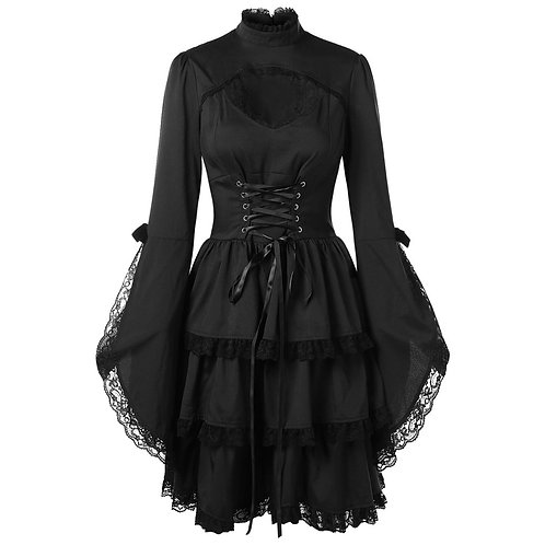 Black Sexy Steampunk Dress Women Stand Neck Flare