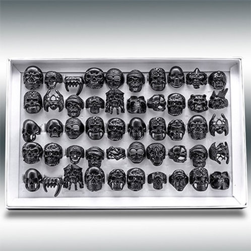 20pcs Skull Ring Punk Vintage Skeleton Rings Gold/Black