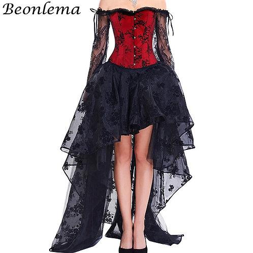 BEONLEMA Long Sleeve Lace Korset Sexy Black
