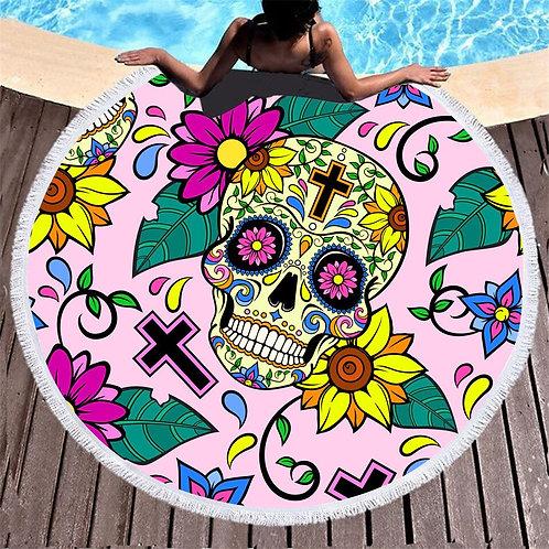 150cm Beach Thick Round 3d Sugar Skull Printed Beach