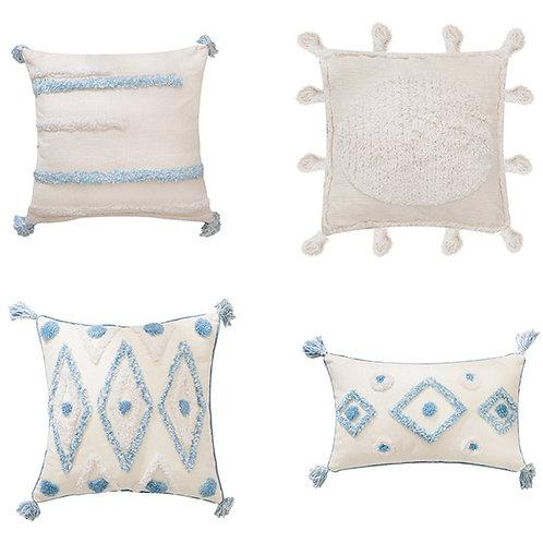Boho Style Handmade Cushion Cover Plush Blue