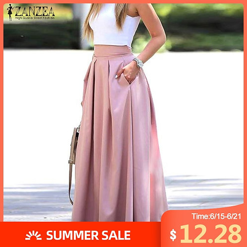 2021 Summer Long Skirts Women Solid Pleated Skirts