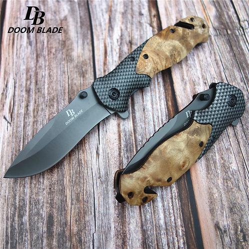 "7.9""55-56hrc Knives Wood Steel Handle Folding Hunting Knife"