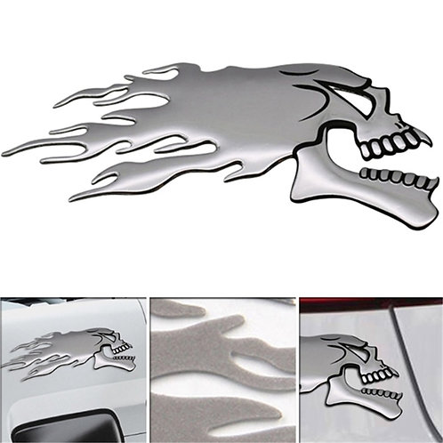 2Pcs/Pair 3D Silver Chrome Ghost Skull Head Auto Decoration Decals
