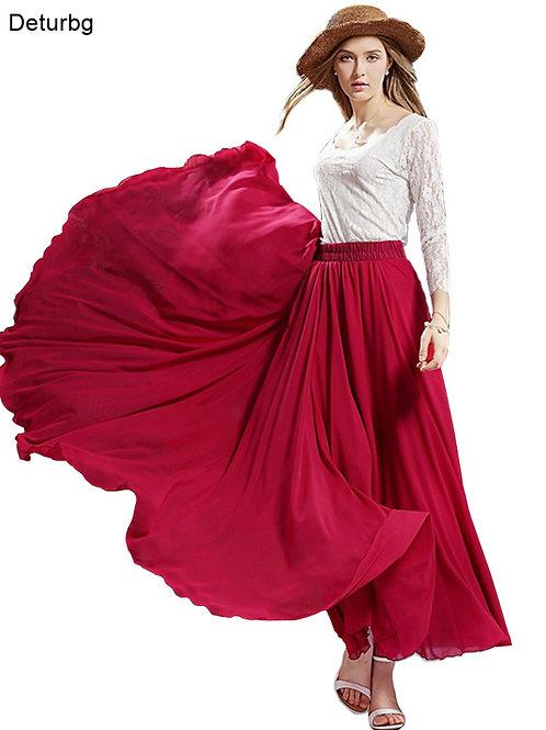 3 Layer Chiffon Long Skirts for Women Elegant Casual High W