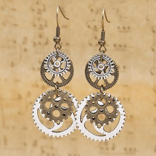 8Seasons Steampunk Earrings Antique Bronze Gear