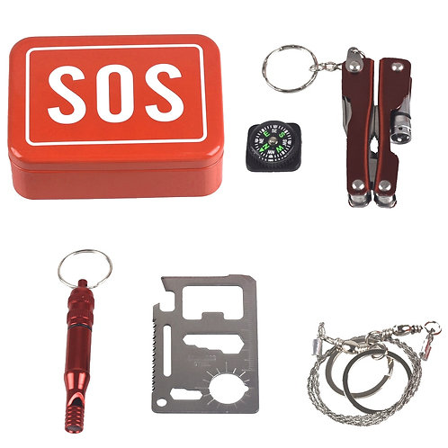 1 Set Outdoor Emergency Camping Equipment Box Survival Kit