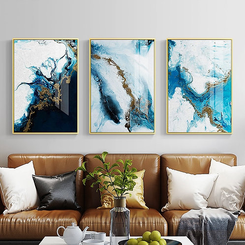 Blue Sea Oil Painting Wall Art Canvas