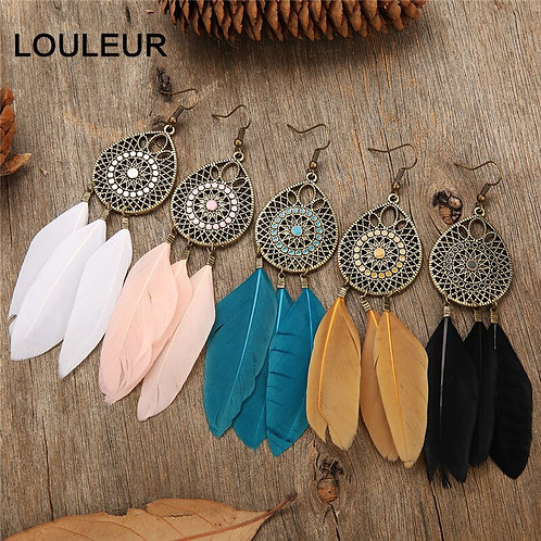 5 Color Feather Vintage Bohemian Fringed Water Drops