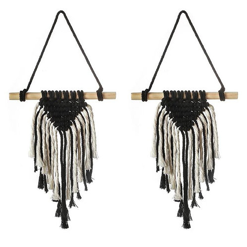 2Pcs Nordic Woven Black and White Tapestry Macrame