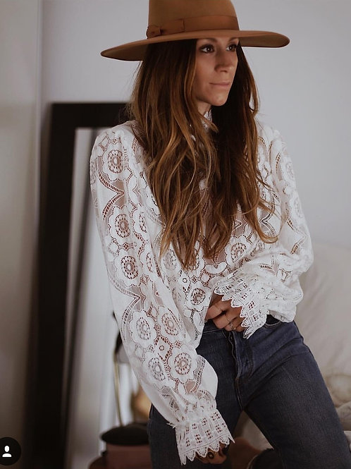 AYUALIN Lady White Lace Blouse Shirt Women Long Sleeve