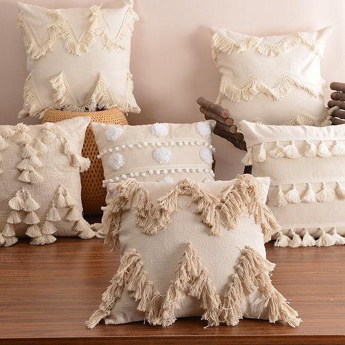 Boho Fringe Accent Pillow Cover Lumbar Pillow Cover