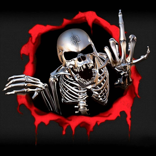 3D Car Stickers Skeleton Skull in the Bullet Hole Funny