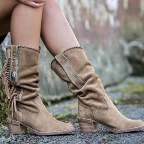 Autumn Bohemian Boots Women Ethnic Tassel Fringe Faux Suede