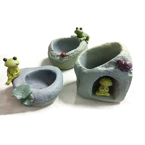 1Pc Zen Style Frog Resin Succulent Plants Pots