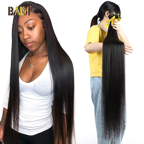 BAISI Hair Peruvian 38 40 42 Inch Virgin Hair Weave Hair Straight