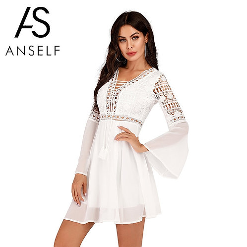 Anself Sexy Women's Dress V-Neck Hollow Out \