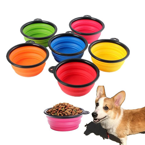 1PC Portable Folding Silicone Dog Bowl Outfit Travel Bowl