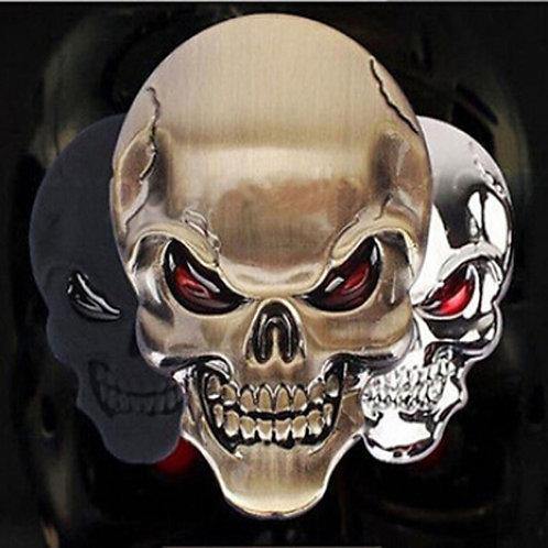 3D Metal Gold Black Skull Skeleton Car Motorcycle Decal