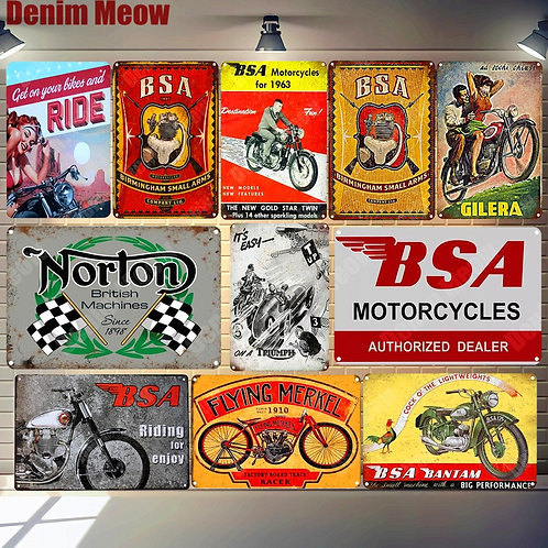 BSA Plaque Motorcycles Vintage Metal Tin Signs Home Bar