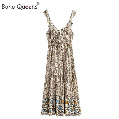 Boho Queens Women Floral Print Sleeveless Beach Bohemian