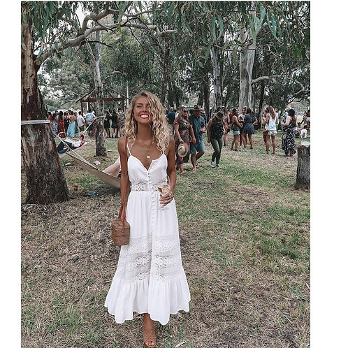 2020 Women Dress Lace Fashion Boho Long Maxi