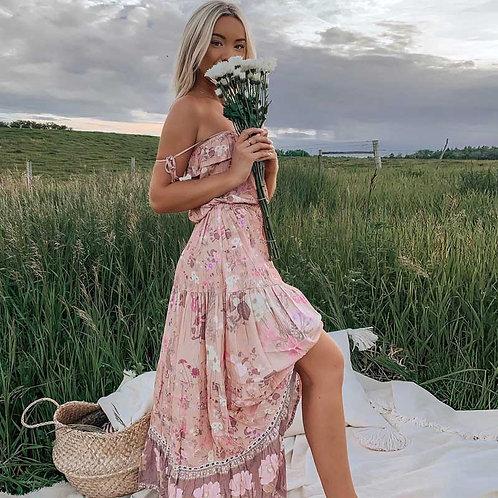Boho Pink Bloom Floral Print STRAPPY DRESS Tassels