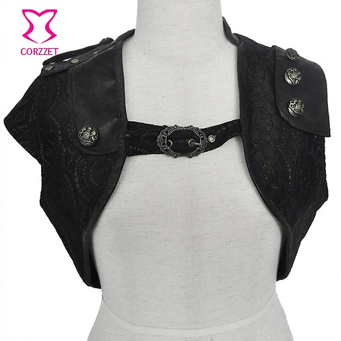Black PU Leather With Floral Lace Sleeveless Short Sexy