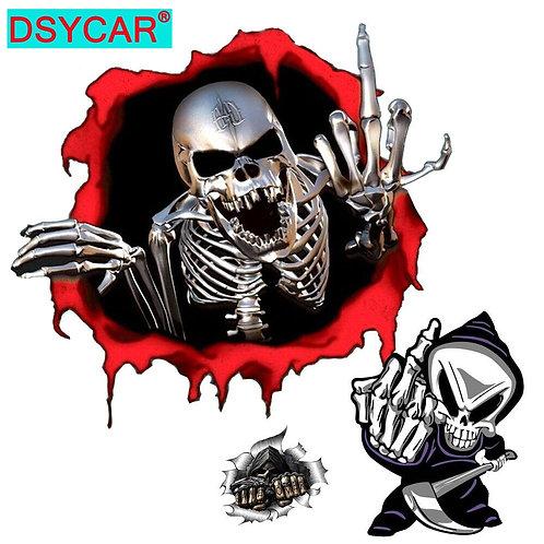 1PC Personalized Skull Design Car Sticker Car Skull Finger Decal Window