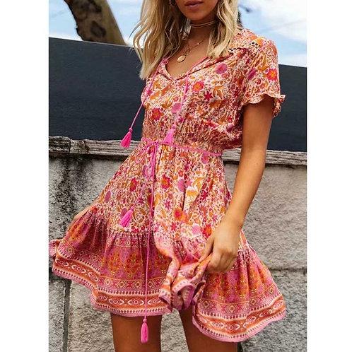 BOHO Dress Pink Floral Print Boho Dress