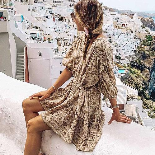 BOHO INSPIRED Leopard Print Boho Dress