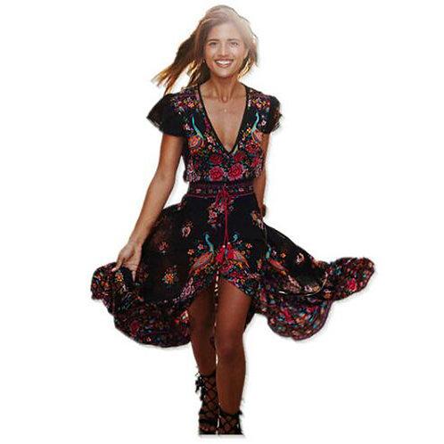 2019 Summer Boho Dress Ethnic Sexy Print Retro Vintage