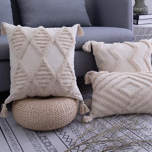 Bohemia Tassels Cushion Cover 45x 45cm/30x50cm Beige Pillow