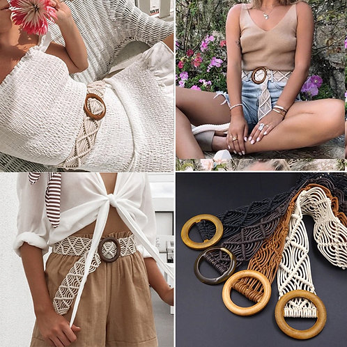 Boho Style Wax Rope Knitted Belt Round Wooden Buckle