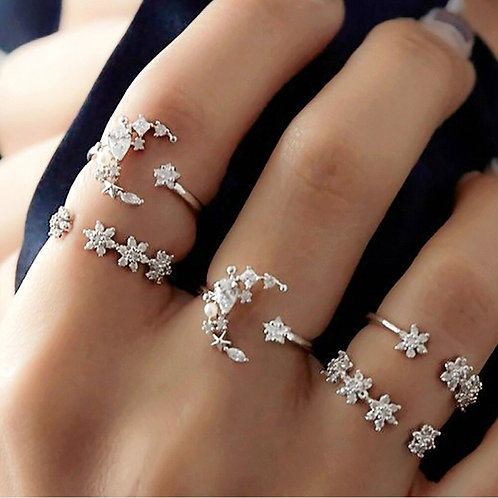 5pcs / Lot Boho Silver Color Star Moon Small Flower Joint Ring
