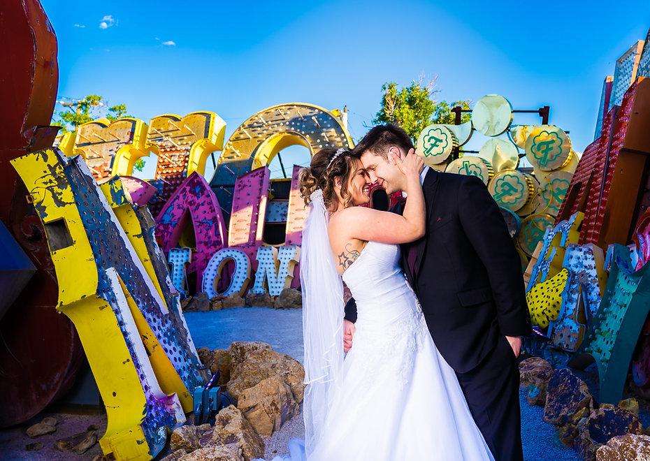 Fun couple poses for wedding photograph in Las Vegas