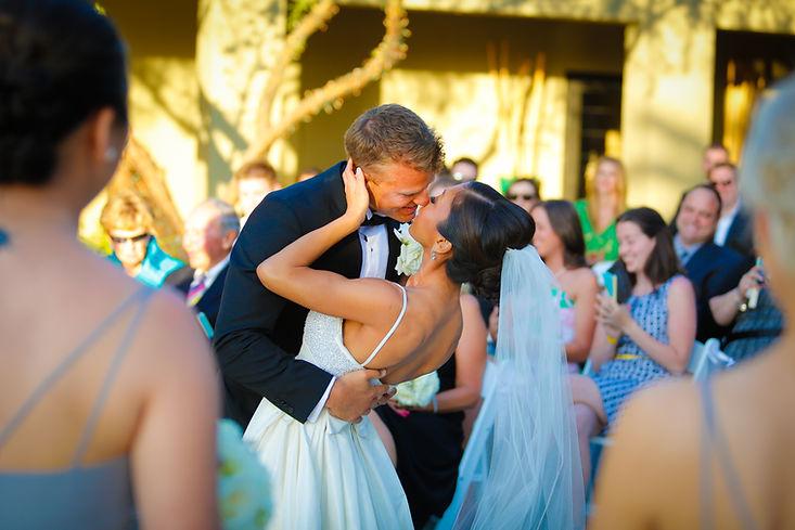 Ken Kenara and Jules Kenara's First Kiss on their wedding day at the Sanctuary at Camelback Moutnain in Pardise Valley, Arizona