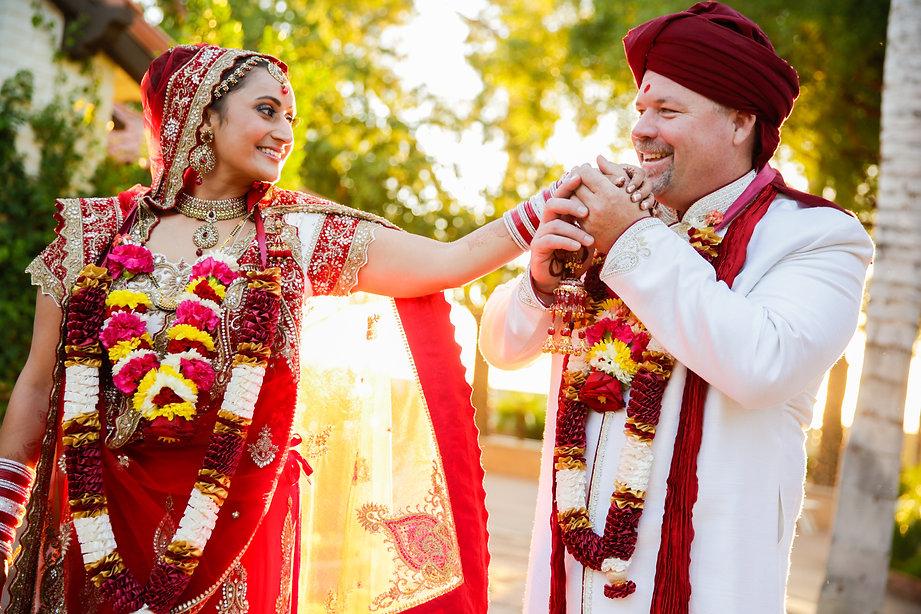 Stunning couple in Indian wedding attire
