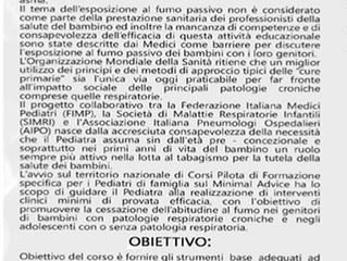 """Corso 22 settembre 2018 :  """"Il Pediatra come facilitatore di smoking cessation"""""""