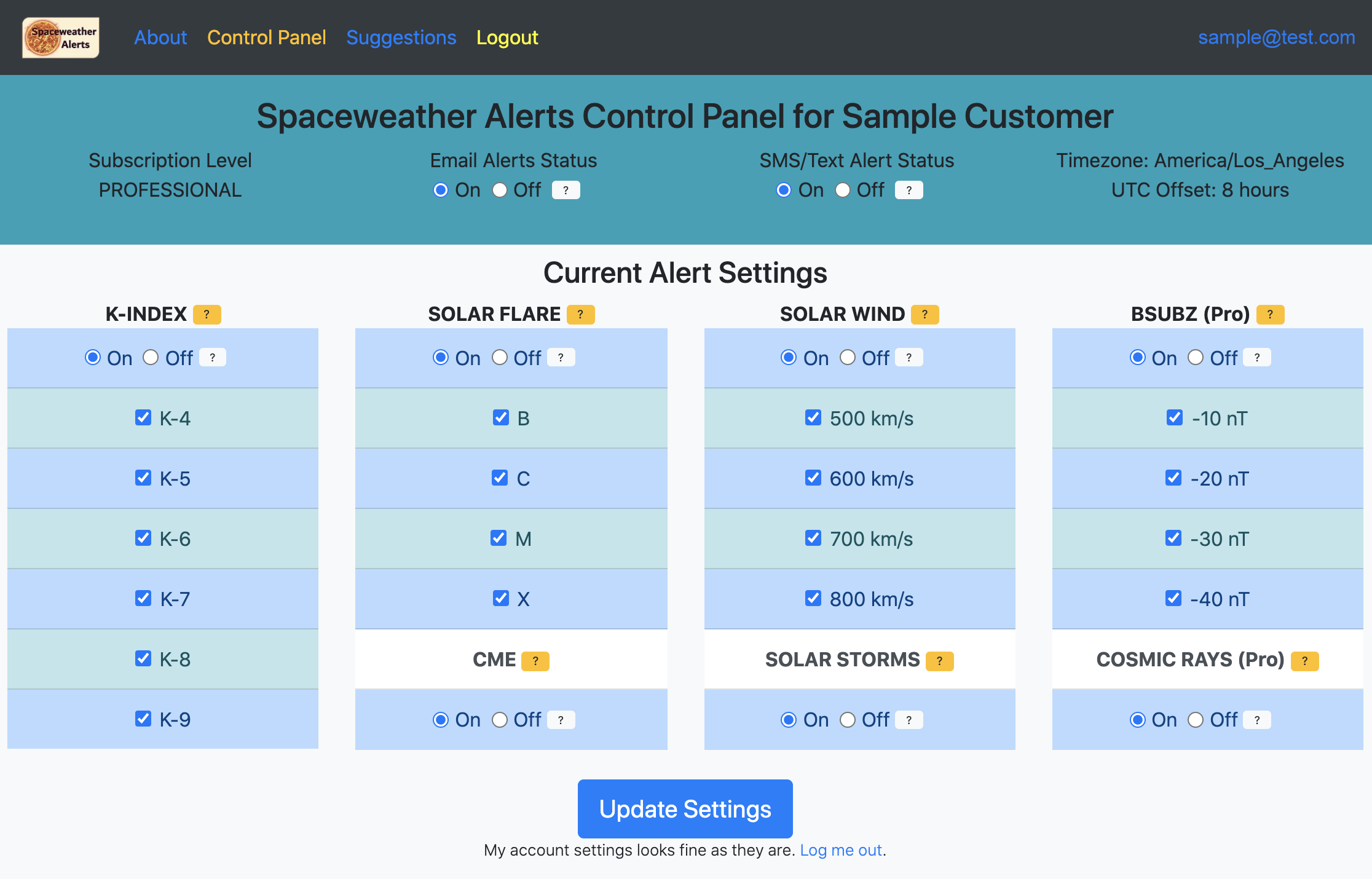 Pro Plan sample customer control panel