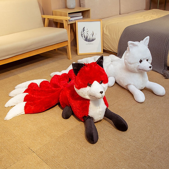 1PC Cute Soft White Red Nine Tails Fox Plush Toys Stuffed Animals