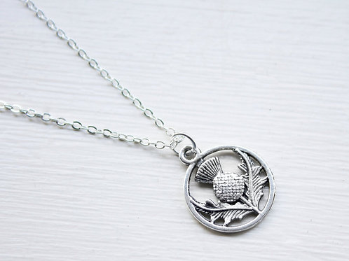 Scottish Thistle Charm Necklace