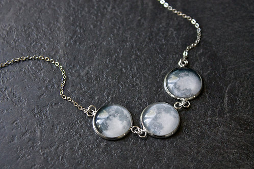 3 Full Moon Phase Necklace