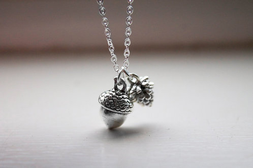 Acorn and Pinecone Necklace