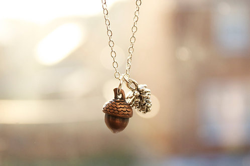 Bronze Acorn and Pinecone Necklace