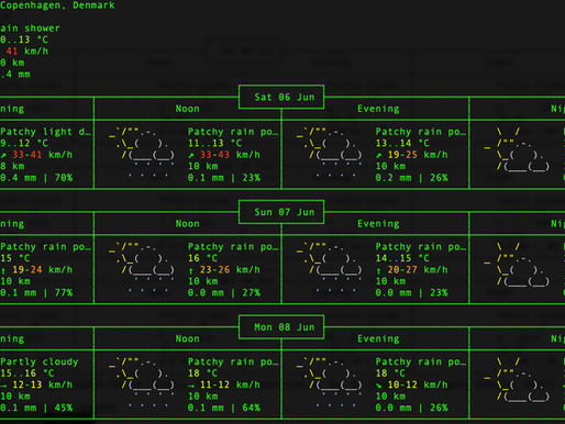Weather forecast in your terminal using wttr.in